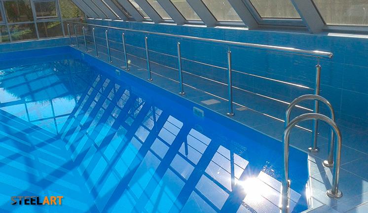 Ограждения в бассейне из нержавейки