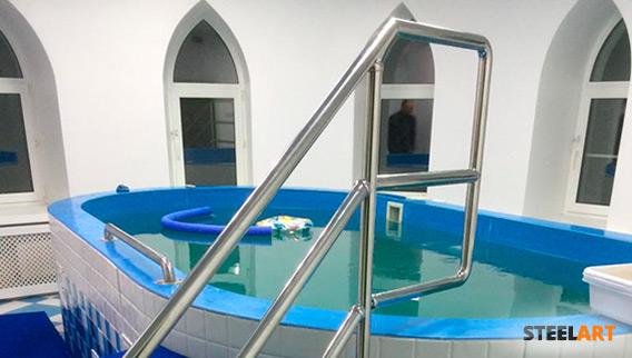 Ограждения из нержавеющей стали в бассейн в хосписе
