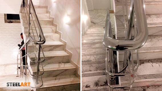 Перила с тремя ригелями на лестнице в частном доме. Два вида