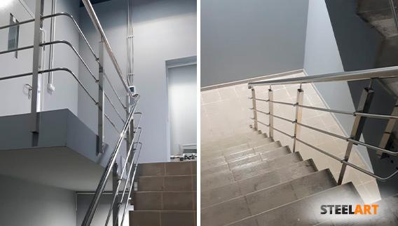 Ограждение лестницы с 3 ригелями в частном доме в Москве